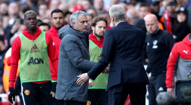 Jose Mourinho, left, lost to Arsene Wenger for the first time in a league meeting
