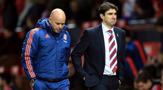 Aitor Karanka, right, and Steve Agnew were unable to prevent Middlesbrough's relegation