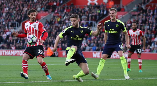 Arsenal defender Shkodran Mustafi (centre) returned from a thigh injury in Wednesday's win over Southampton.