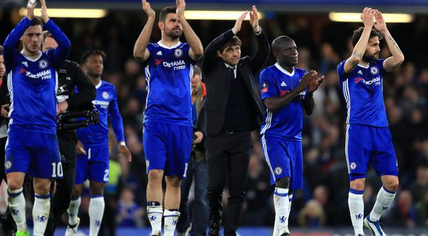Eden Hazard, left, Diego Costa, second left, and N'Golo Kante, second right, have been among Chelsea's most influential players this season