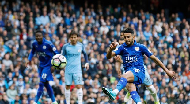 Leicester's Riyad Mahrez had his penalty disallowed against Manchester City