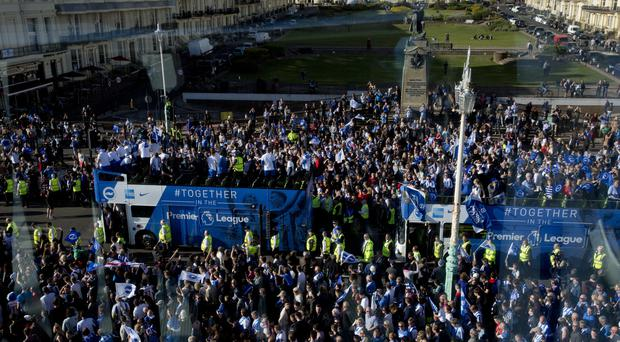 Brighton enjoyed an open-top bus parade along the seafront to celebrate the club's promotion