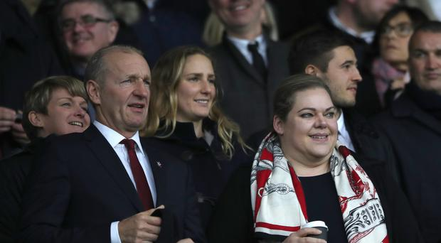 Ralph Krueger, left, says owner Katharina Liebherr will remain involved with Southampton regardless of whether it attracts investors or not