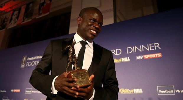 Chelsea midfielder N'Golo Kante was quick to pay tribute to his team-mates after accepting the 2017 FWA Footballer of the Year award