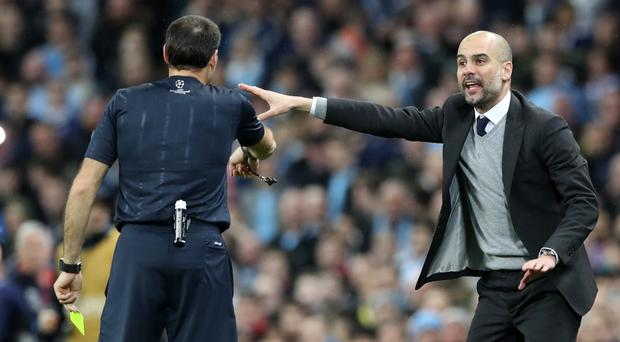 Pep Guardiola, animated on the touchline, wants referees to be able to use video technology