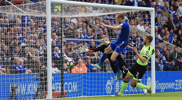 Leicester's Jamie Vardy equalisers in their 1-1 draw with Bournemouth on Sunday.