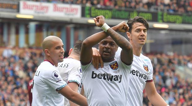 Andre Ayew celebrates the goal which ensured a winning end to the season for West Ham
