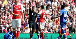 Arsenal's Laurent Koscielny was sent off for a challenge on Everton's Enner Valencia