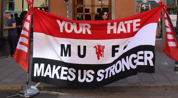 Manchester United fans in Stockholm ahead of the Europa League final were defiant following the terror attack in their home city