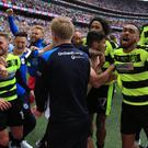 Huddersfield celebrate promotion at Wembley