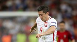 Bayern Munich have dismissed reports Poland striker Robert Lewandowski, pictured, is to leave for the Premier League