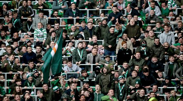 Celtic fans in the safe-standing area at Parkhead.