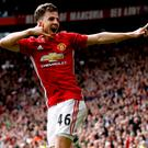 Preston-bound Josh Harrop celebrates scoring for Manchester United against Crystal Palace