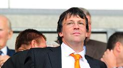 Blackpool chairman Karl Oyston has accused club president Valeri Belokon of inciting fans