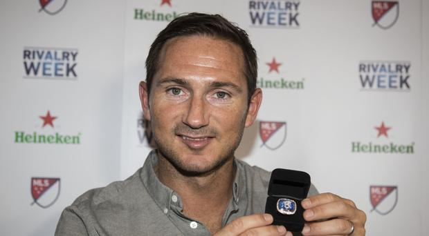 Former NYCFC player Frank Lampard pictured at the MLS Heineken Rivalry Week Viewing Party with his New York City Ring presented to him to commemorate his 300th career goal