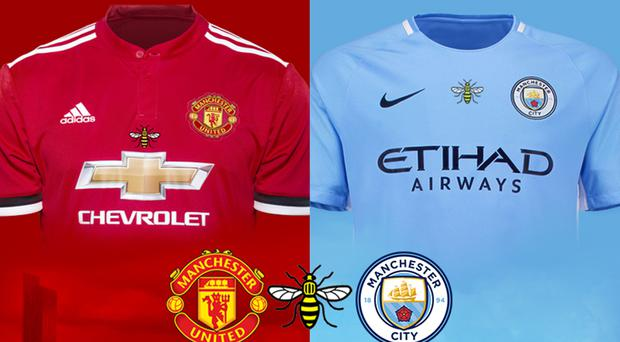 Manchester City and Manchester United players will wear commemorative shirts for next week's derby match in Houston