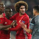 Eric Bailly, second left, was sent off against Celta Vigo