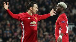 Paul Pogba, right, has hailed Zlatan Ibrahimovic, left