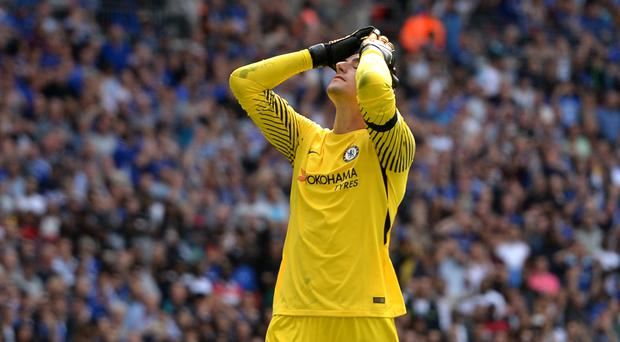 Chelsea goalkeeper Thibaut Courtois missed a penalty in the Wembley shootout against Arsenal