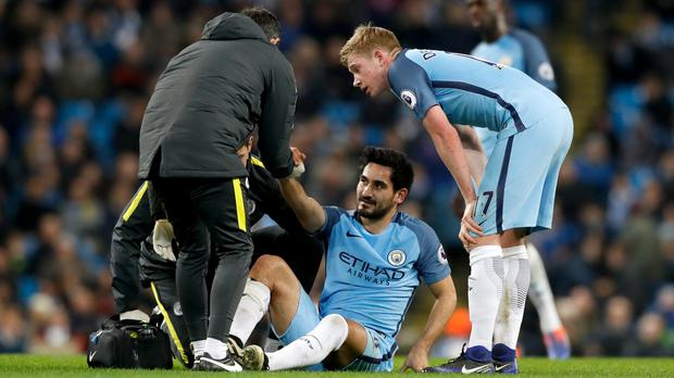 Ilkay Gundogan suffered a knee injury against Watford in December