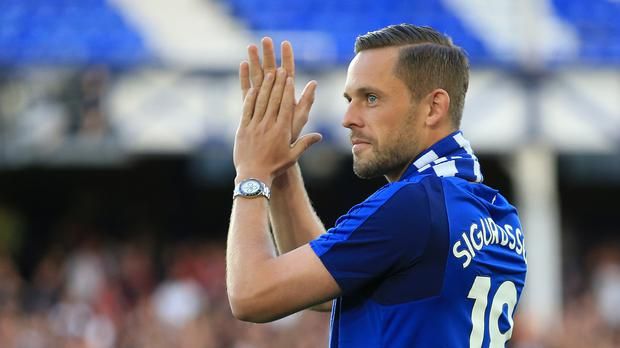 Everton's new signing Gylfi Sigurdsson was introduced to the crowd before the Europa League play-off against Hajduk Split