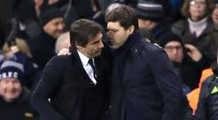 Tottenham manager Mauricio Pochettino, right, will welcome Antonio Conte, left, and his Chelsea title-winners to Wembley