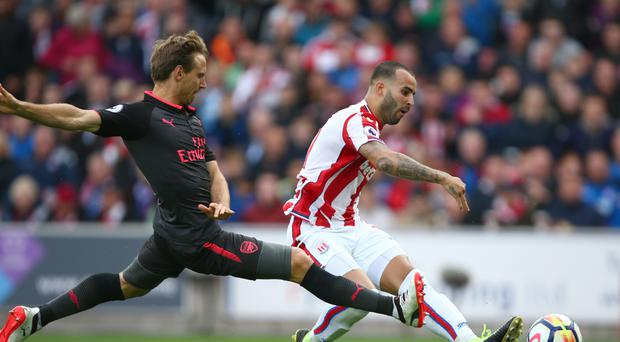 Stoke's Jese scores the only goal of the game against Arsenal