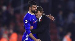 Antonio Conte, right, has fallen out with Diego Costa
