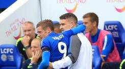 Leicester's Jamie Vardy limps off towards the end of their 2-0 win over Brighton on Saturday.