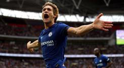 Marcos Alonso celebrates his winning goal