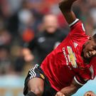 Manchester United striker Marcus Rashford had a tough afternoon at the Liberty Stadium