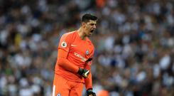 Chelsea goalkeeper Thibaut Courtois was a happy man at Wembley