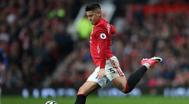 Manchester United's Marcos Rojo trained on Tuesday