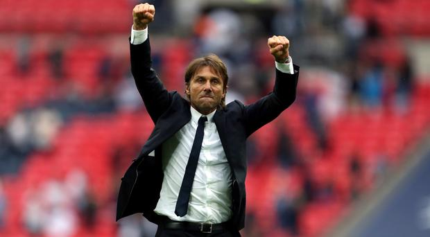 Antonio Conte celebrates victory at Wembley