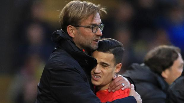 Philippe Coutinho, pictured right, with Jurgen Klopp