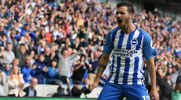 Pascal Gross scored twice for Brighton against West Brom