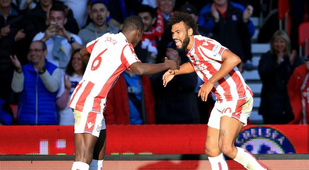 Two-goal Eric Maxim Choupo-Moting, right, celebrated the draw against Manchester United