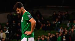 A dejected Shane Long of Republic of Ireland leaves the pitch after the FIFA World Cup Qualifier Group D match between Republic of Ireland and Serbia at the Aviva Stadium in Dublin. Photo: Sportsfile