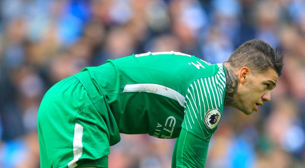 Manchester City goalkeeper Ederson was hurt in a bad collision with Liverpool's Sadio Mane