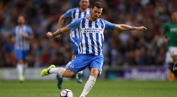 Pascal Gross pulls the trigger for his second goal against West Brom