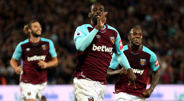 Pedro Obiang, pictured centre, opened the scoring for West Ham