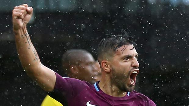 Manchester City's Sergio Aguero roars with delight after his opener