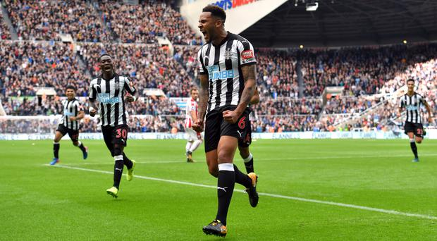 Jamaal Lascelles celebrates scoring Newcastle's second goal