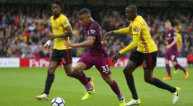Manchester City's Gabriel Jesus, in maroon, grabbed a goal at Watford on Saturday