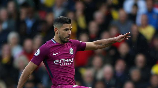 Sergio Aguero, pictured, has been hailed as a 'goal machine' by his Manchester City team-mates