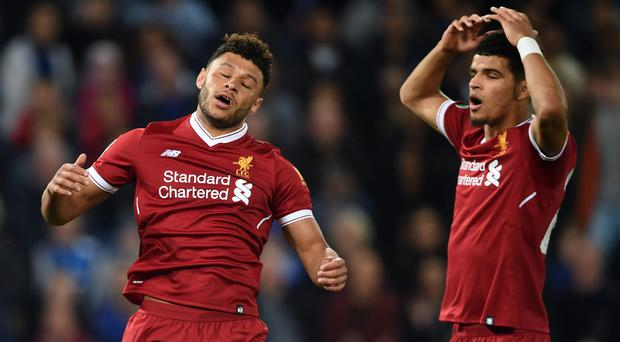 It has been a frustrating time in front of goal for Liverpool with Dominic Solanke, right, among the culprits