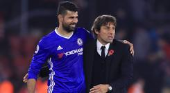 Diego Costa, pictured left, has rejoined Atletico Madrid after a fall-out with Chelsea head coach Antonio Conte
