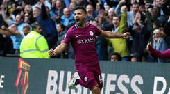 Sergio Aguero is closing in on Manchester City's goalscoring record