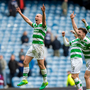 Scott Brown leads celebrations after Celtic's Old Firm victory over Rangers at Ibrox Park last April