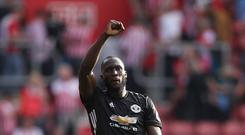 Manchester United's Romelu Lukaku reacts after the final whistle during the Premier League match at St Mary's